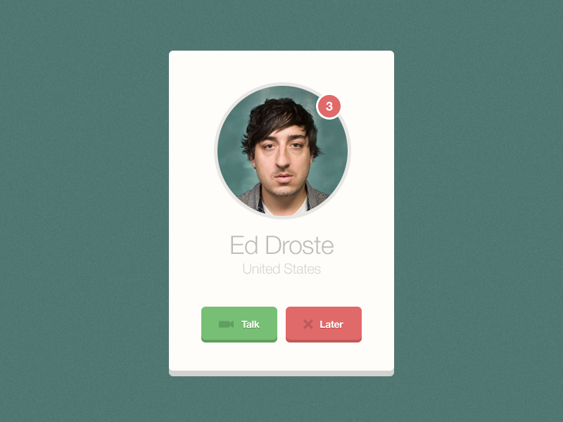 Incoming Video Call (freebie) helvetica entypo vector psd free freebie design ux green stars rating pastel detail clean flat minimal ed droste grizzly bear element ui artist video call incoming skype