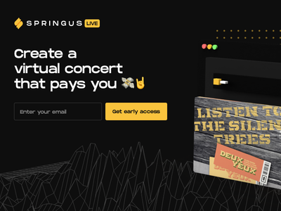 Springus Landing Page 3d model dj live show stream streaming dark ui web design email capture landing page live streaming