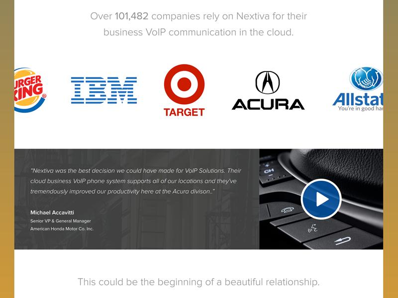 Nextiva Homepage [WIP] minimal gradient clean homepage landing page cta testimonal