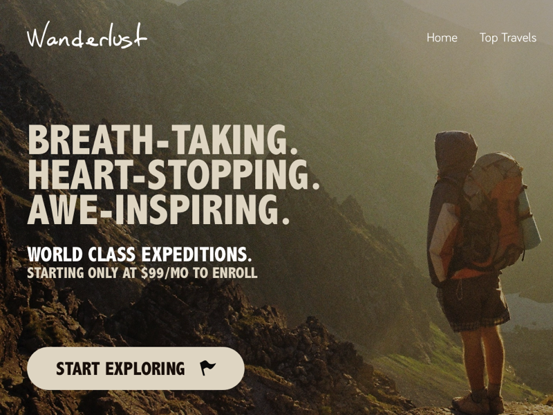 Daily UI - #003 / Landing Page [FREEBIE] freebie daily ui flat backpacking hiking cta minimal landing page
