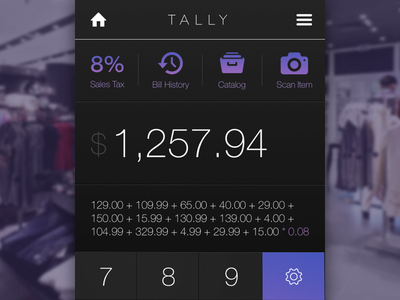 Daily UI #004 / Tally.cash Calculator ecommerce shopping cash tally credit card checkout