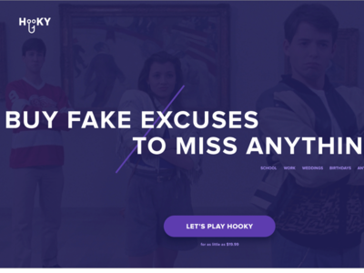 Hooky - Fake excuses to miss anything landing page clean website minimal hooky