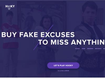 Hooky - Fake excuses to miss anything landing page clean website minimal hooky