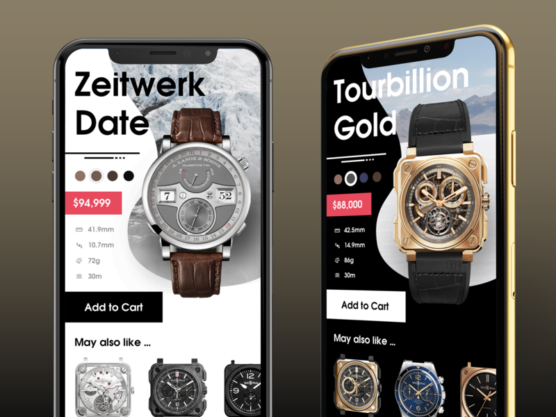 Luxury Watch Application [FREE .sketch file] watches ecommerece professional detail user interface freebie ux free design ui clean minimal flat