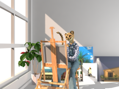 painting cheetah illustration c4d 3d