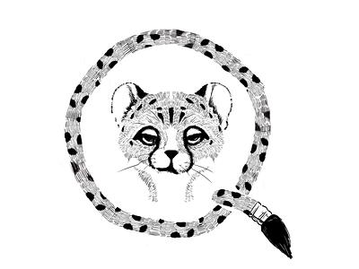 Cheetah black white illustration 2d