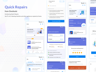 Quick Repairs from OneAssist user experience user interface product app design appliance repair on-demand