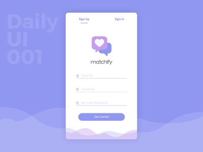 Daily UI 001 - Sign Up Screen daily design app design user interface challenge daily ui