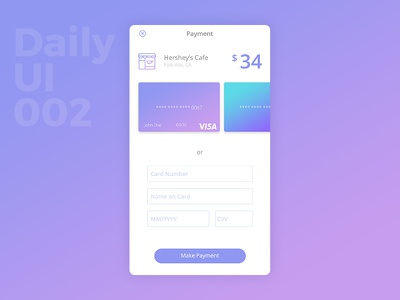 Daily UI Challenge #002 Credit Card Checkout mobile ui app interface ui checkout credit card concept payment challenge design daily ui