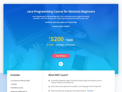 Course Page for a educational website web design website landing page education school course