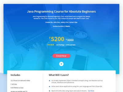 Course Page for a educational website
