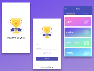 Quiz App  (Old Work) illustrator photoshop psd design app ux ui color game quiz