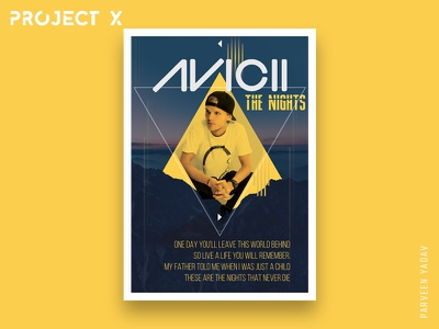 Project X : 10 Music Artists | 10 Songs | 10 Posters posters design poster photoshop minimal music llustrator avicii