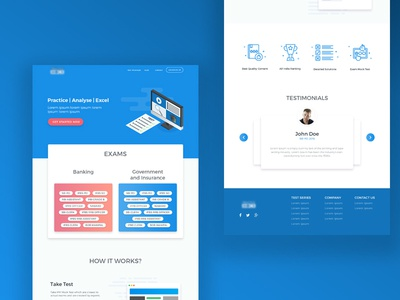 Landing Page Design for Exam Prep Website user interface clean design website homepage startup education edtech page landing