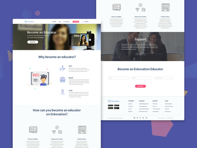 Landing Page for Become an Educator web design web interface education ui website landing page