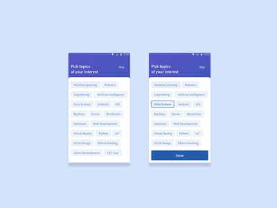 Pick Interests for Eckovation App ux android education ui design