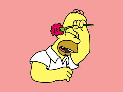 Homer Simpson homer simpson the simpsons flower drawing sad illustration
