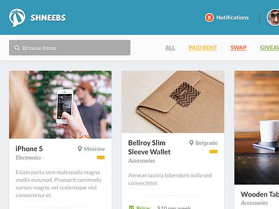Shneebs Web App Concept web ui user interface app shneebs cards