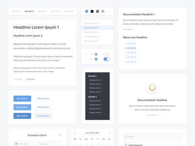 UI Kit toggle navigation search sidebar cards text buttons pickers web user interface ui ui kit