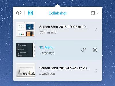 Collabshot Uploads dashboard uploads mac app mac osx menu bar user interface ui