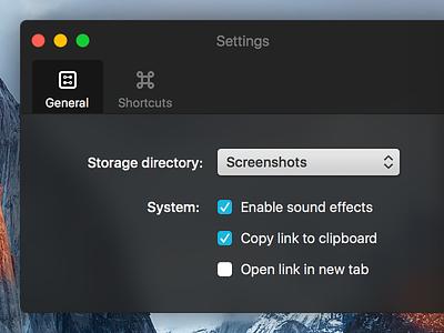 Collabshot Settings shortcuts dropdowns buttons checkboxes tabbar settings uploads mac app mac osx user interface ui