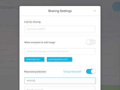 Sharing Settings email modal popup inputs forms password collabshot user interface ui permissions settings