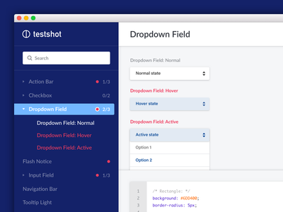TestShot Visual Direction #1 dropdown sidebar web ui visual design ux user interface ui web app testshot