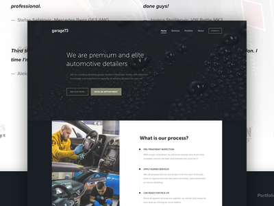 G73 Home Page dark garage73 flat visual design user interface ui landing home website web ui web