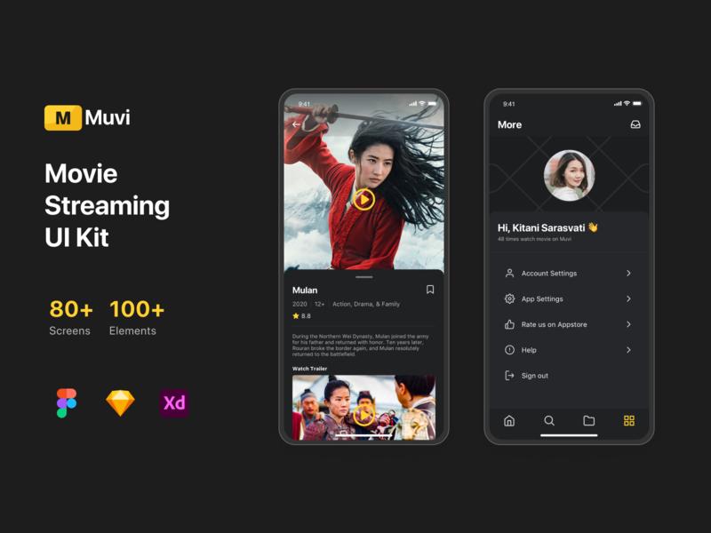 Muvi - Movie Streaming UI Kit vector web icon flat application interface mobile ui illustration design