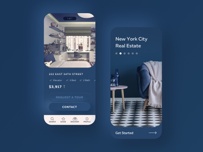 Blue Real Estate iphone interior blues ux mobile real estate neomorphism neomorphic skeumorphic skeuomorph blue app interface ui design