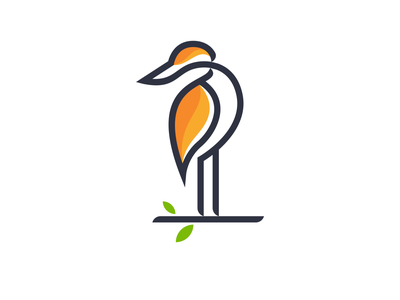 stork endr animal logo monoline simple logo icon branding illustration vector design logo