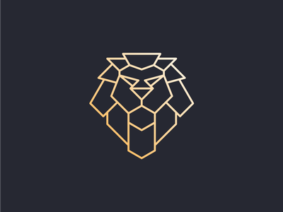lion head logo geometric endr monoline animal logo icon branding illustration vector design logo
