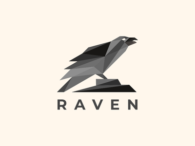 raven abstract design abstract logo ravens animal modern endr geometric animal logo illustration vector design logo