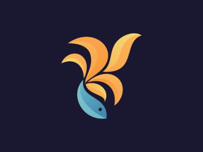 fish modern animal geometric simple logo endr animal logo illustration vector design logo