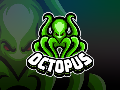 octopus mascot logo modern endr animal logo vector design logo esports logo animal mascot ocean giant squid giantoctopus green seaworld octopus