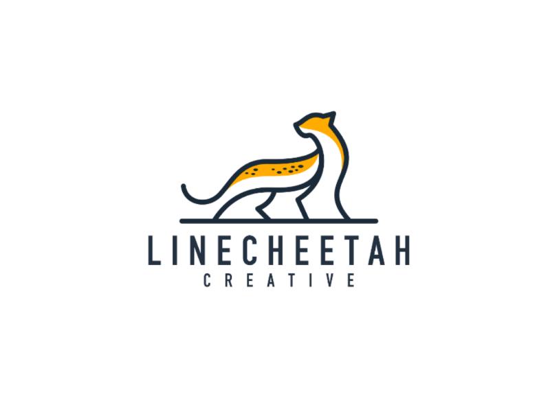 Cheetah simple logo branding monoline animal logo vector illustration icon design logo