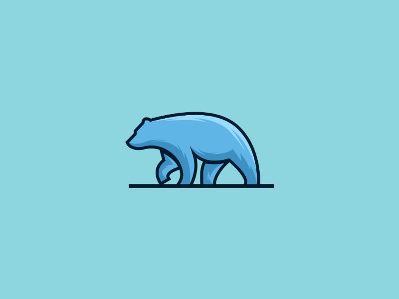 Bear iceberg ilustration bear animal design logo polar bear