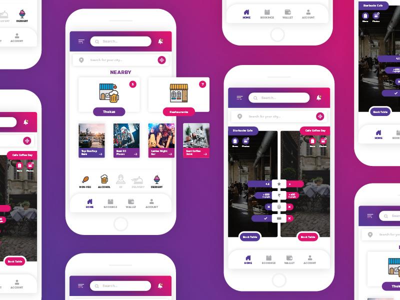 Nearby Hangouts - App Design app design social ui dribbble design gradient social app ui ux