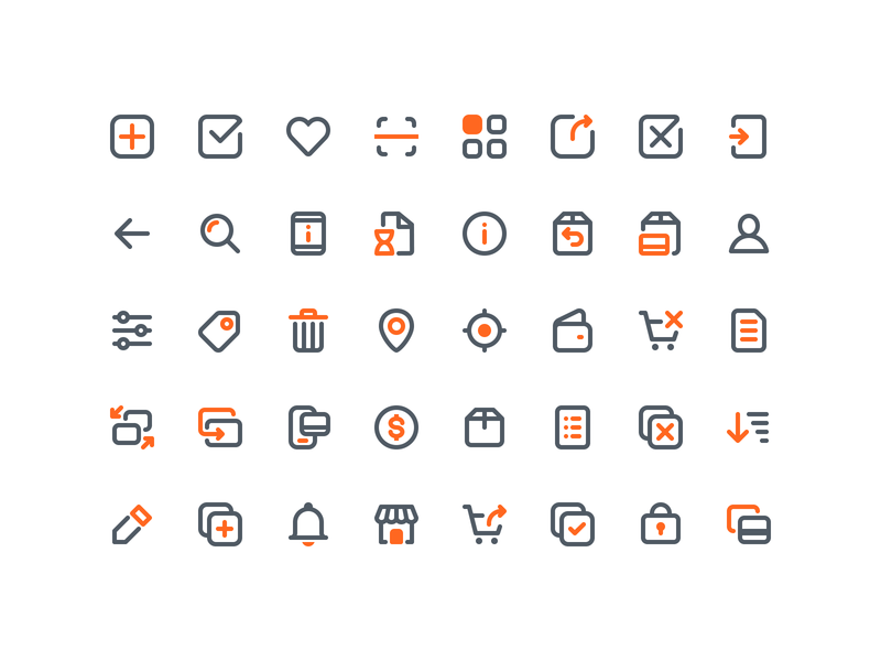 Icon set for ecommerce mobile app mobile app icons mobile app icon mobile app mobile ios ui e-commerce ecommerce iconography flat icons flat icon line icons line icon iconpack icon pack icon set iconset icons icon