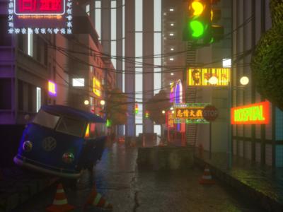 Night city octanerender model town 3ddesign lowpoly illustration nightcity city c4d 3dmodel 3d cyberpunk