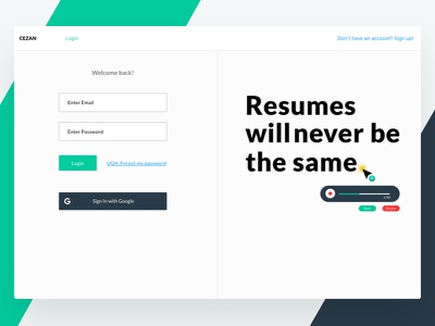 Login - Cezan login form resume builder sign up web app dashboard react audio resumes login