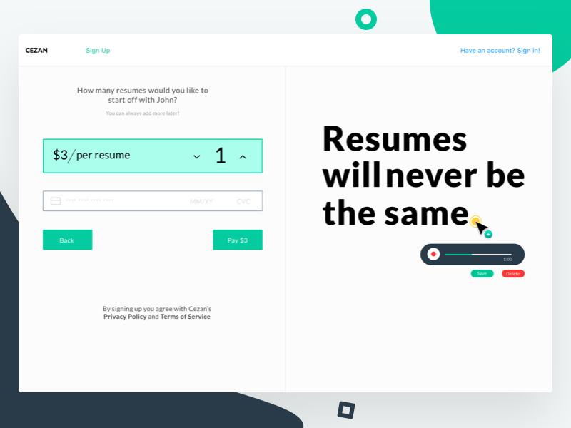 Sign Up - Cezan web app sign up resume builder desktop web confirmation interface ui dashboard payment form resume