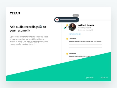 Cezan is LAUNCHED! audio player web app resume builder audio marketing desktop web illustrations cv resume