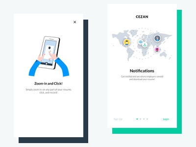 Cezan Mobile! signup login notifications illustrations mobile ios onboarding