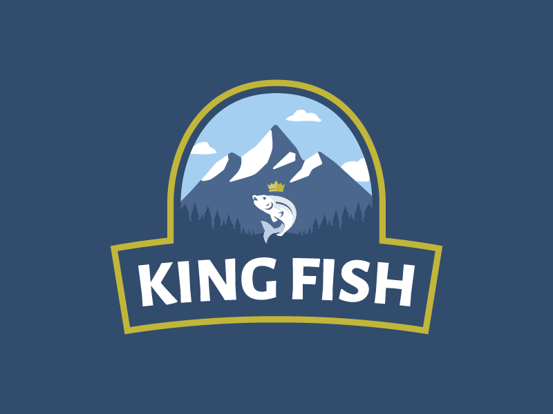 KING FISH vector branding typography design geometry shift kyrgyzstan logo fish logo badge mountains crown king fish