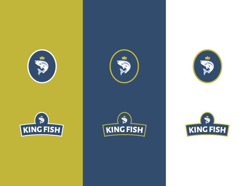 KING FISH crown fish king icon illustration vector branding design geometry shift kyrgyzstan logo