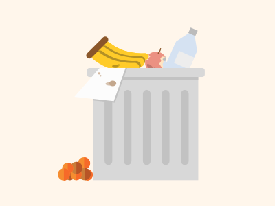 Trashcan trash can flat illustration