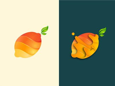 Lemons healthy health food vitamin c leaves leaf drink juice yellow sour lemon fruit shapes colorful logo branding gradient vector