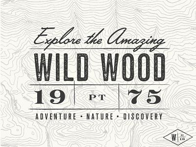 Wild Wood - Postcard wood wildwood vintage trail map texture stationary postcard nature logo discovery branding adventure