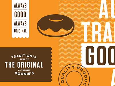 The Original - Packaging I tasty good doonies logo pattern traditional original layout packaging doughnuts